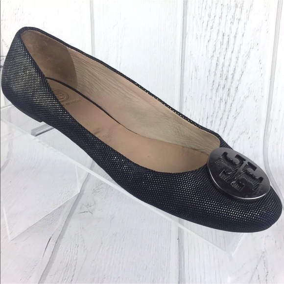 54ce3cd61ef Tory Burch Shoes - Tory Burch Logo Black Leather Reva Ballet Flats 8